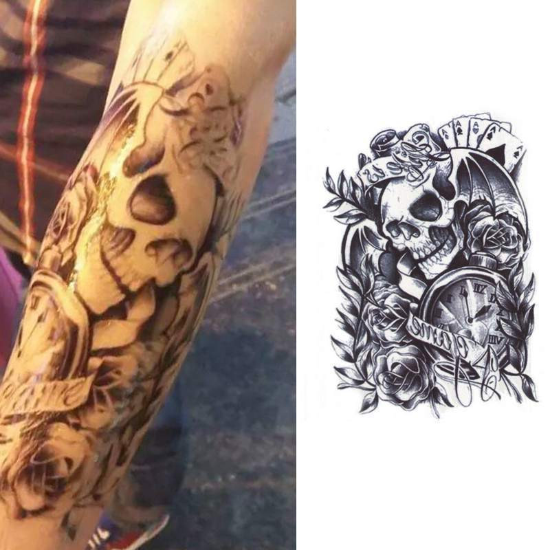 Sexy temporary tattoo body arm skull stickers removable for Best tattoo ink brand