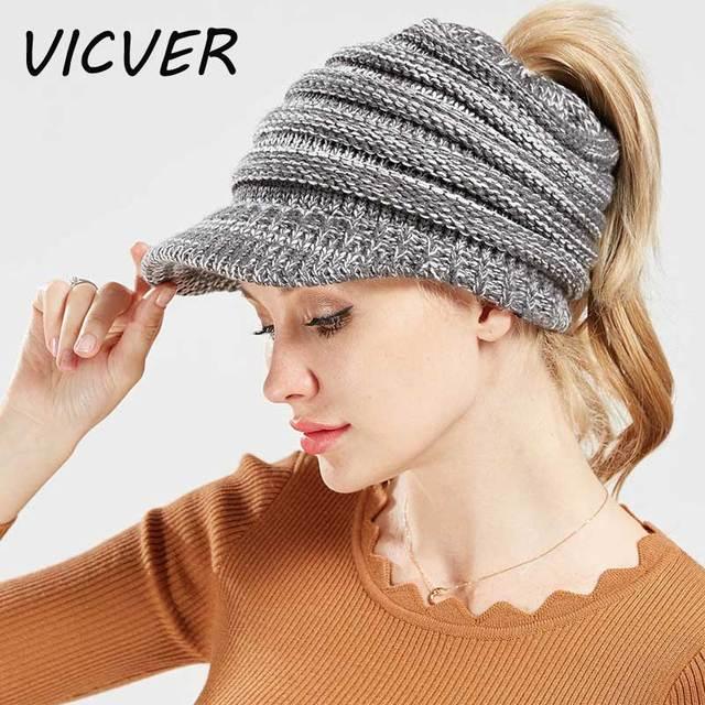 Ponytail Beanie Winter Hats for Women Soft Knit Warm Stretch Messy Bun Hat  Ski Caps Skullies dc226e6f2737