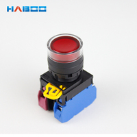 10pcs/lot Haboo 22mm momentary illuminated push button switch various color LED switch 1NO+1NC 12V 24V 110V 220V