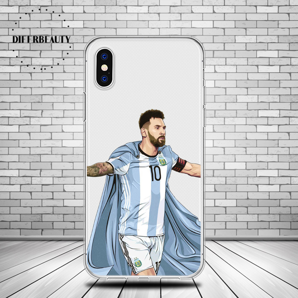 DIFFRBEAUTY Famous Football Soccer Star Super Lionel Messi Soft Silicone Phone Cases Coque For iphone 6 6s 7 8 Plus 5s SE pogba
