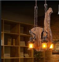Lamps Style Retro Industrial Wind Restaurant Bar Personality Network Coffee Shop Wooden Boat Living Room Pendant