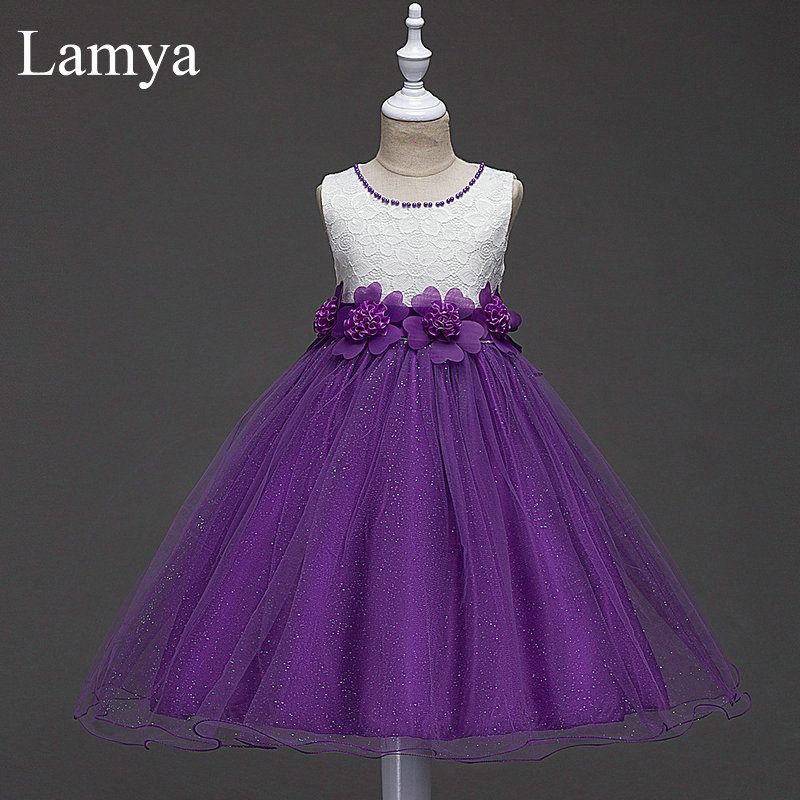 LAMYA   Flower     Girls     Dress   Kids Short Ball Gown Dresse For Wedding Party Princess Pageant   Dress   For Children 7 Colors