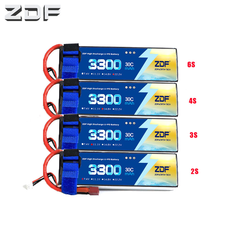 ZDF Power High Quality <font><b>lipo</b></font> battery 7.4v 11.1v 14.8v 22.2v <font><b>3300mAh</b></font> 2S 3S <font><b>4S</b></font> 6S 30C For rc helicopter car boat quadcopter image