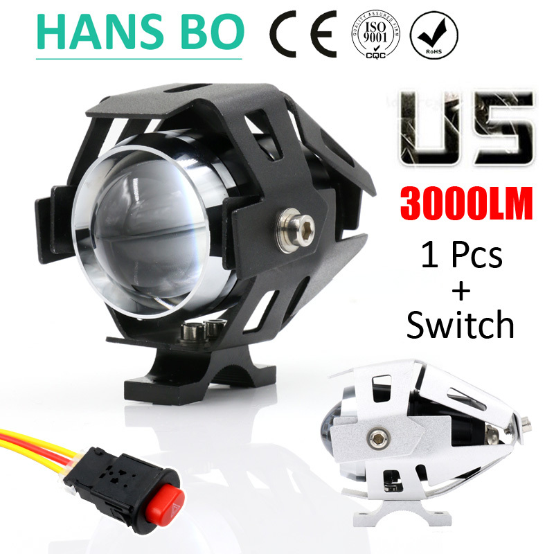 1 PCS 125W 2 Color Motorcycle Motorbike Headlight 3000LM Upper Low Beam&Flash U5 LED Driving Fog Spot Head Light Lamp