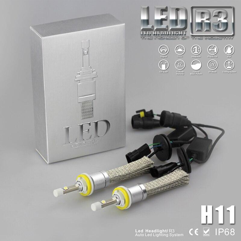 2pcs 80W R3 H11 LED Headlight XHP-50 LED Chips Headlamp Auto Car 9600LM Conversion Fog Driving Light Kit Super Bright mitsubishi 100% mds r v1 80 mds r v1 80