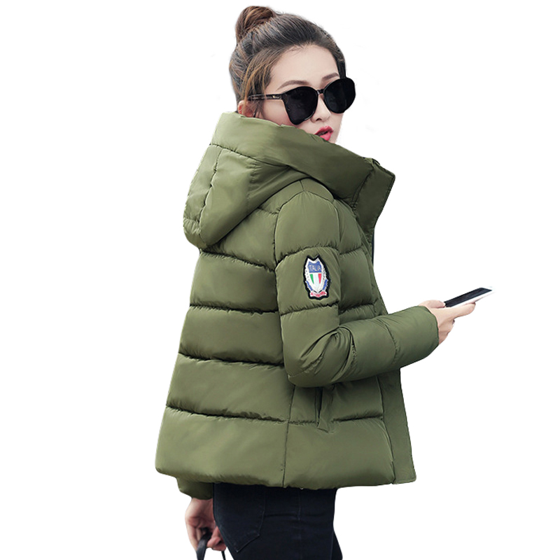 2018 New Fashion Warm Winter Jacket Women 4 Colors Down   Parkas   Cotton Padded Jacket Girls Slim Thick Hooded Female Jacket Coat