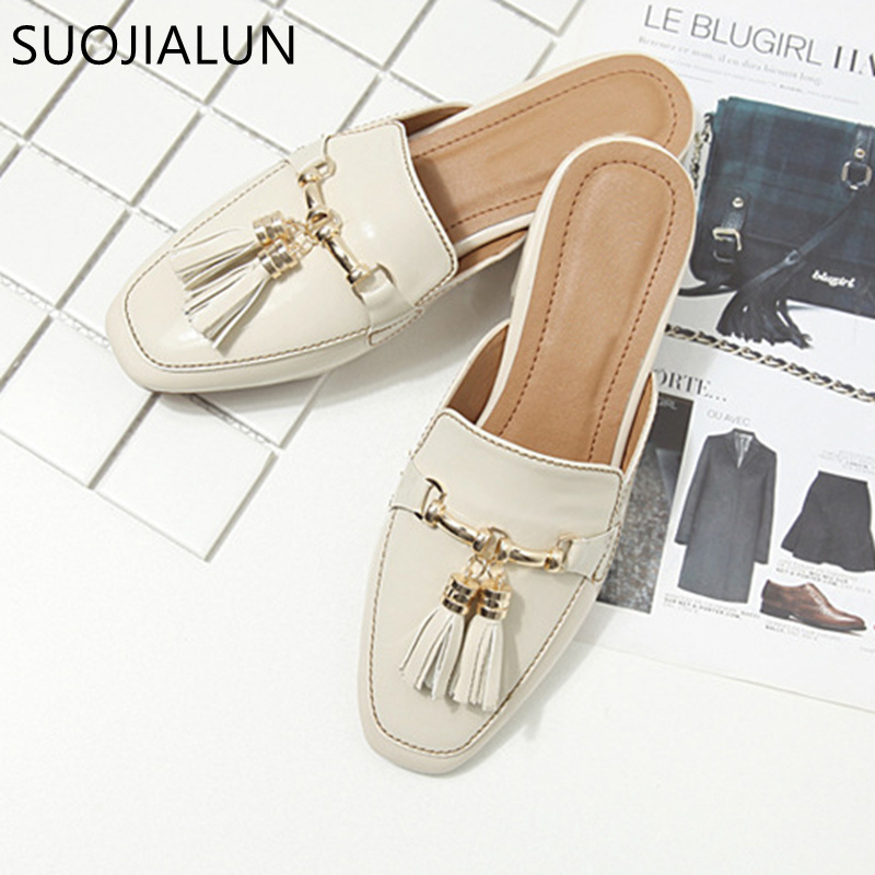 SUOJIALUN Brand 2018 Autumn Plus Size 36 41 Women Slipper Square Toe Flat Woman Slippers Slip On Mules Metal Buckle Slides in Slippers from Shoes
