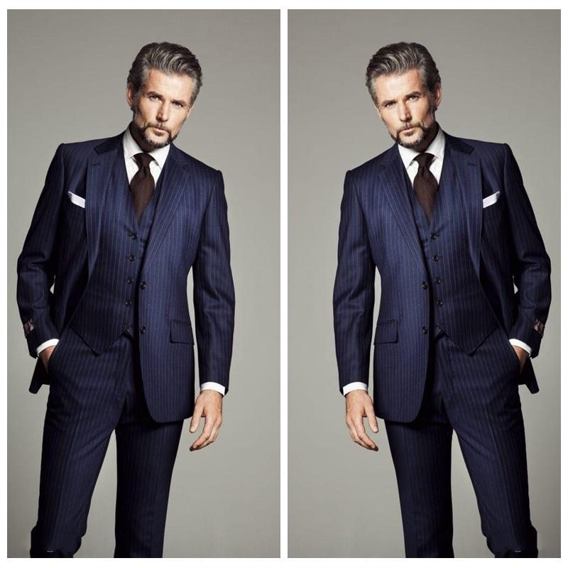 Custom Dark Navy Pinstripe Wedding Tuxedos Slim Fit Suits Men Groom Suit Three Pieces Business Formal Suits  (Jacket+Vest+Pants)