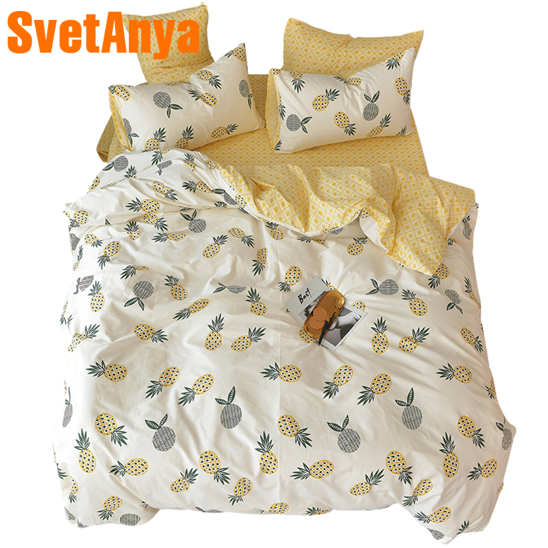 a5a2dd3133b8 Svetanya Pineapple Bedsheet Pillowcase Duvet Cover Sets 100% Cotton  Bedlinen Twin Double Queen King Size Bedding Set
