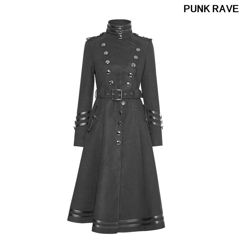 Военный модный ремень с металлическими кнопками, черная Зимняя шерстяная женская форма, камвольная длинная куртка в стиле панк, Y 766
