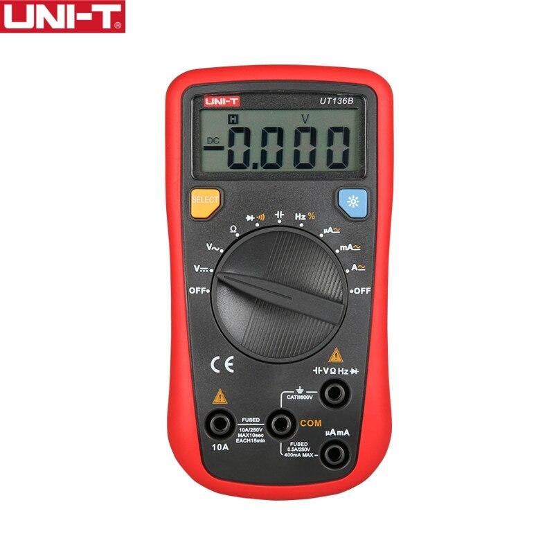 UNI-T UT136B Auto Gamma Multimetro Digitale Tester AC DC VoltageCurrent Ohm Diodo Cap Hz di test diodo multimetro