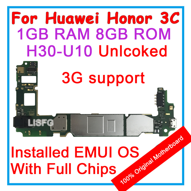 US $23 55 |1GB RAM 8GB ROM For HUAWEI Honor 3c 3 C H30 U10 Motherboard 100%  Unlocked Original Mainboard EMUI Logic Board With Full Chips-in Mobile
