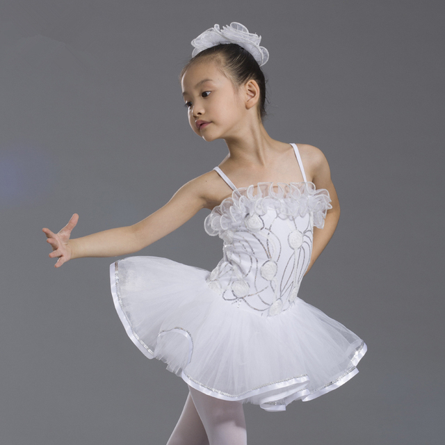 94f27179e White Swan Lake Kids Ballet Tutu Skirt W/Leotard Child Sequins Stage  Performance Costume Girls Dance Competition/Practice Dress