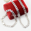 Fashion White Jewelry Sets Men Woman 8mm  White Gold Filled Link Bracelet Necklace Set