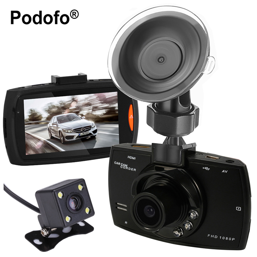 Podofo Dual Cameras Car DVR G30 Dash Cam Full HD 1080P Video Recorder Registrator With Backup Rear View Camera Night Vision Dvrs podofo dual backup camera