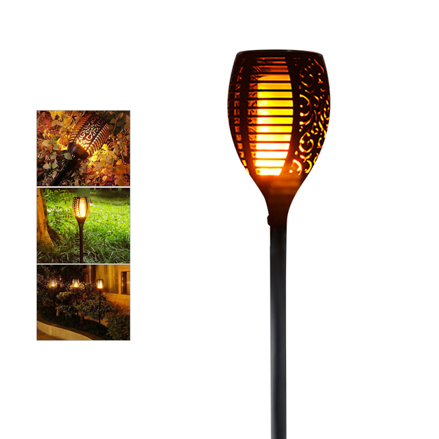 Solar Led Flame Lamps Waterproof Flicker Effect Torch Lights Indoor Fire Light Bulbs Outdoor