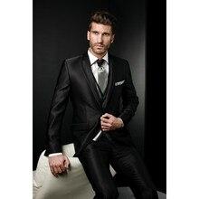 Unique Design Exquisite Dramatic Male Suits Peaked Lapel One Butten Tie Groomsman Tuxedos Men Wedding Suits (Jacket+Pants+Vest)