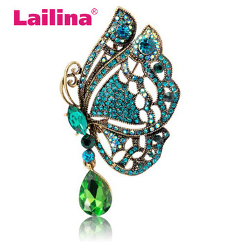 Vintage Flower Pendant Brooch Pins Crystals Water Drop Rhinestone Butterfly Wedding Bride Brooches for Women