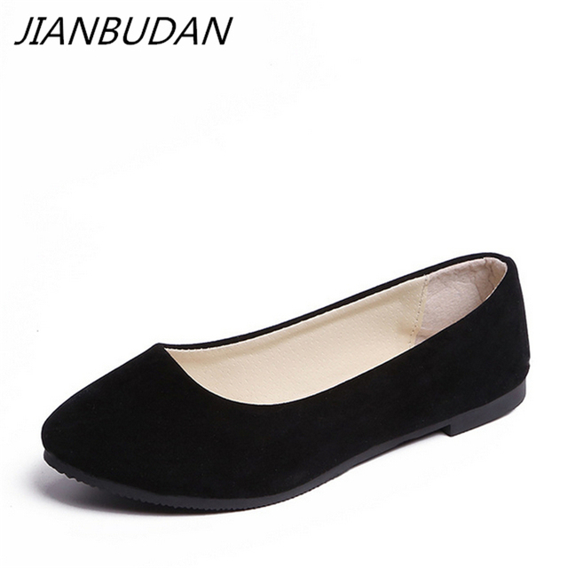 JIANBUDAN Women flat heels spring summer 2019 new casual flat shoes solid everyday shoes Ballet flat shoes size 35-43