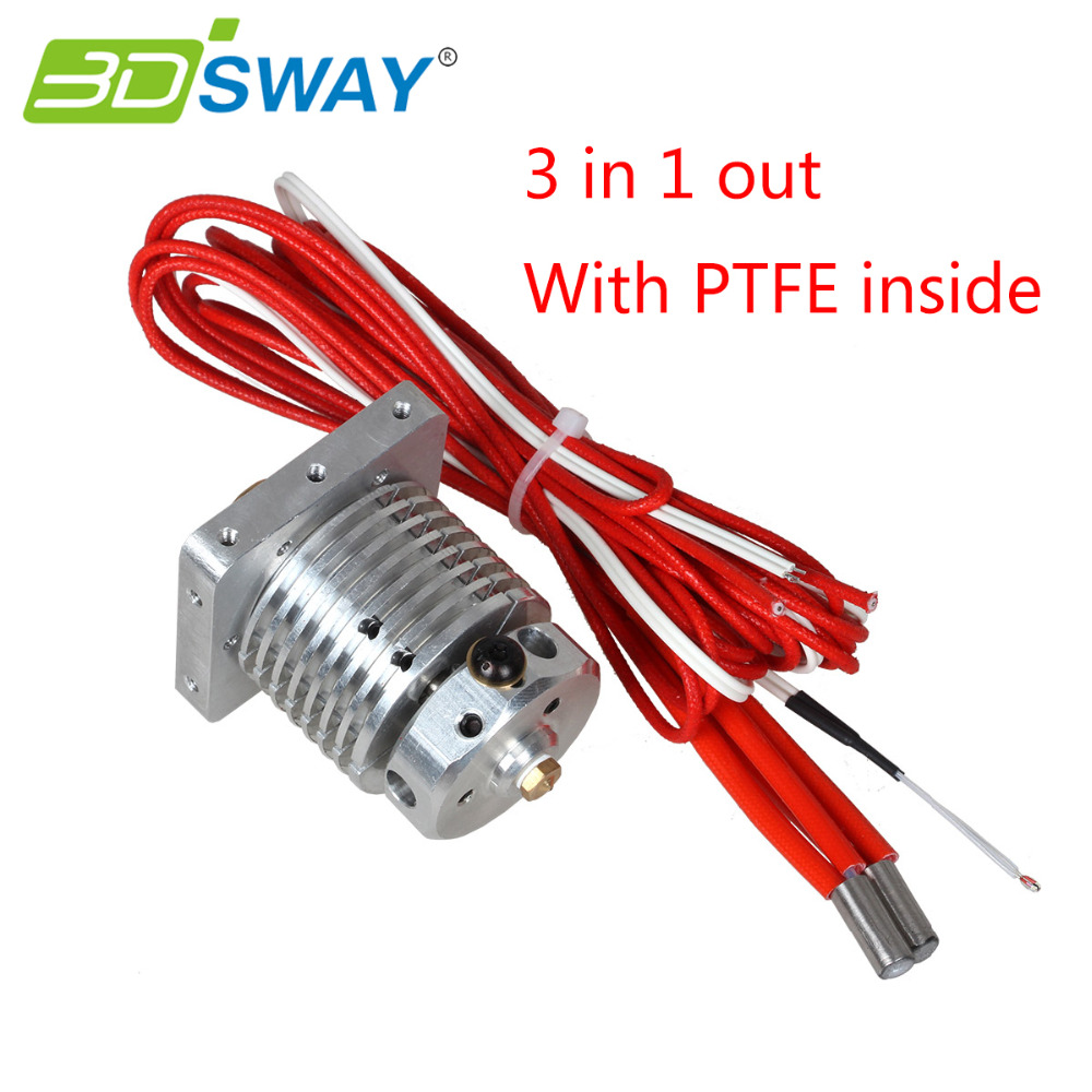 3dsway 3d printer parts all metal 3d chimera 3d cyclops hotend kit dual color extruder multi extrusion for 0 4mm 1 75mm 3DSWAY 3D Printer Parts Improved Multi-extrusion 3 In 1 Out Hotend Kit Multi Color Hot End 0.4mm/1.75mm for PLA/ABS Filament