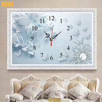 Full Diamond Embroidery Butterfly Wall Clock 3D DIY Diamond Painting Cross Stitch Kit Clock And Watch