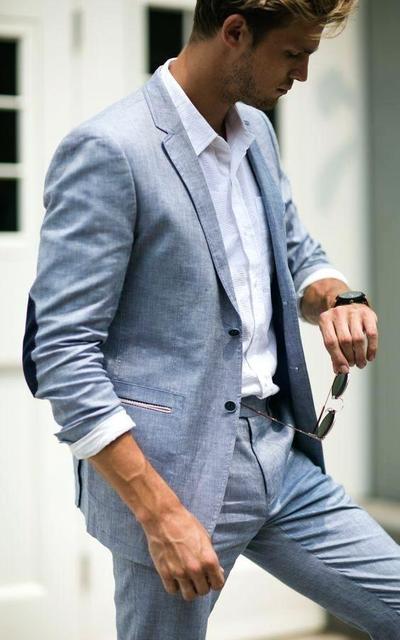 2018 fumar Lino azul hombres traje clásico chaqueta de verano hombres trajes  para la boda elegante 486ba2223a1