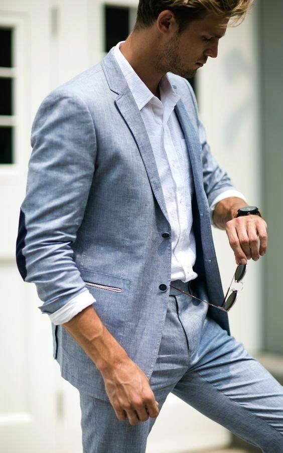 2018 smoking blue linen men suit classic summer jacket men suits for wedding smart casual beach prom blazer slim jacket+pants