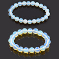 Opalite Round Beads Bracelets Bangles Elastic Rope Chain Natural Stone Friendship Bracelets For Women and Men Jewelry