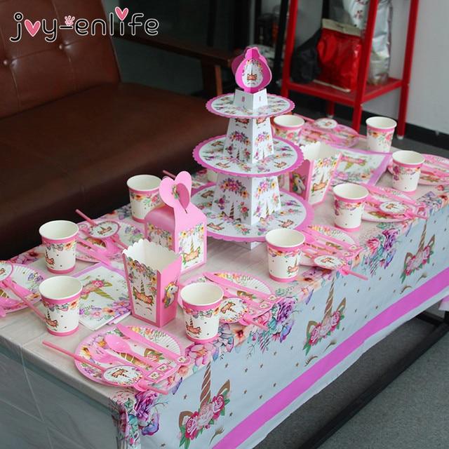 Unicorn Party Supplies Pink Rainbow Unicorn Banner Plates Balloons Napkin Cupcake Wrapper Baby Shower Kids Birthday Decorations 4