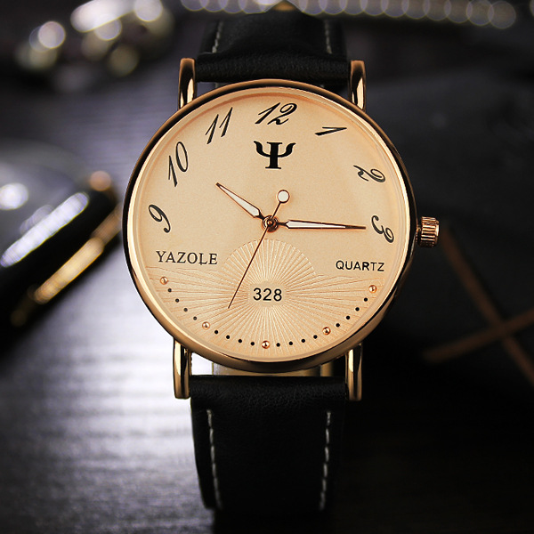YAZOLE Brand Gold Silver Leather Waterproof Backlight Quartz Dress Wristwatch Watch Clock for Men Women No.328 OP001