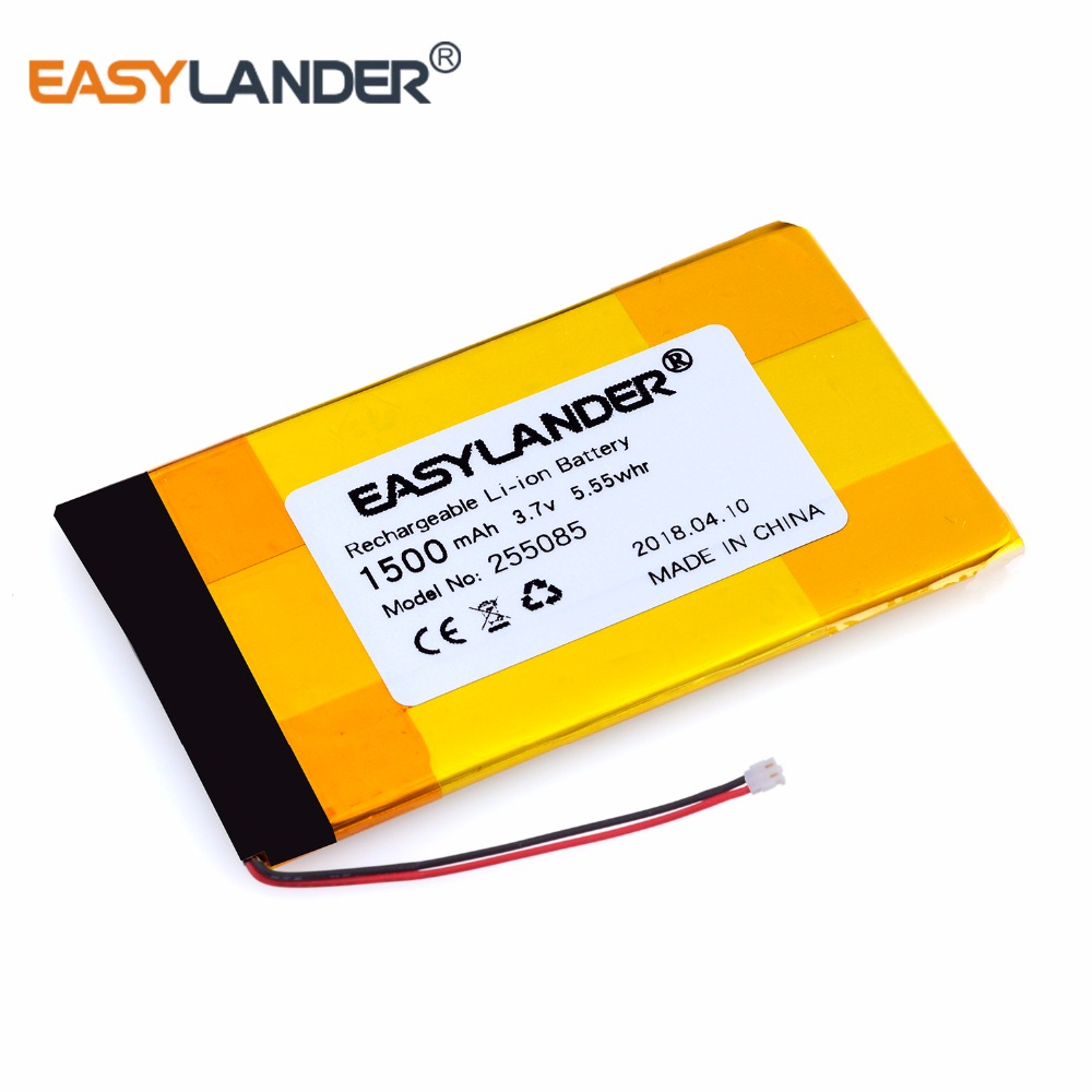<font><b>255085</b></font> 3.7V 1500mAh Rechargeable li-Polymer Battery For Navigator MP4 MP5 Speaker phone GPS PDA with plug MLP255085 image