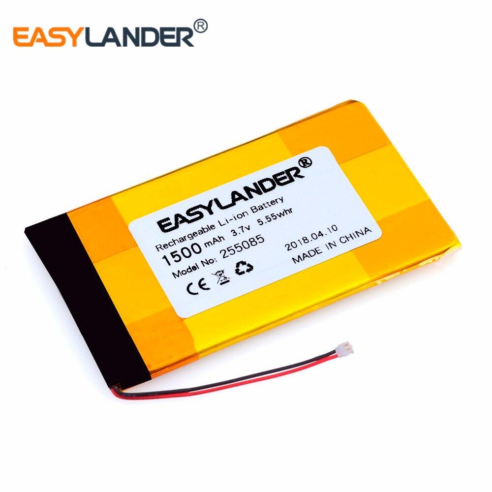 255085 3.7 v 1500 mah Recarregável li-Bateria De Polímero Para O Navegador MP4 MP5 Altifalante do telefone GPS PDA com plug MLP255085