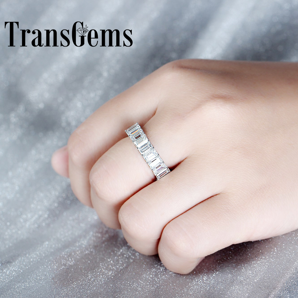 Transgems 18K White Gold 3*5 mm F color Emerald cut moissanite band engagement Ring color ring inductance 0307 3 9uh a03073r9 color code 20