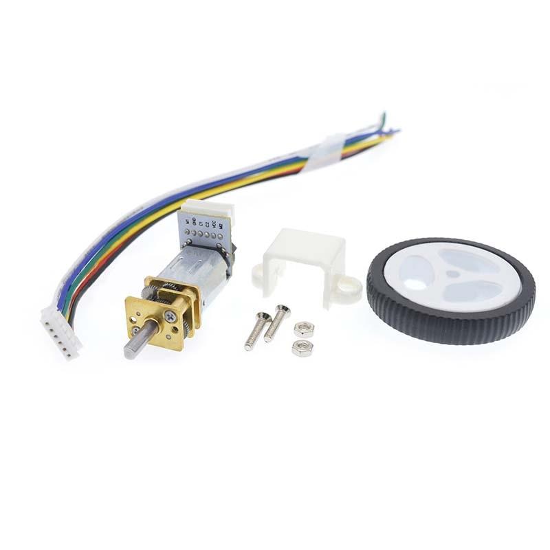 DC 6V Encoder Motor Gear N20 Micro Gear Motor Electric Mini Motor With 34mm Wheel Screws Mounting Bracket Coupling Kit