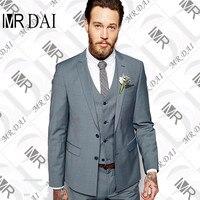 MD-033 사용자 정의 만든 들러리 노치 라펠 신랑 턱시도 라이트 그레이 남성 정장 웨딩 최고의 남자 재킷 (재킷 + 바지 + 조끼 넥타이)
