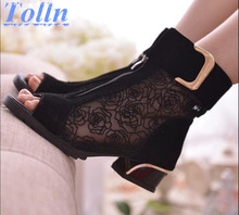 2017 moda primavera e no verão das mulheres sapatos de sandálias de dedo aberto rendas líquidas botas mujer sandálias gladiador calcanhar grosso gaze size35-39