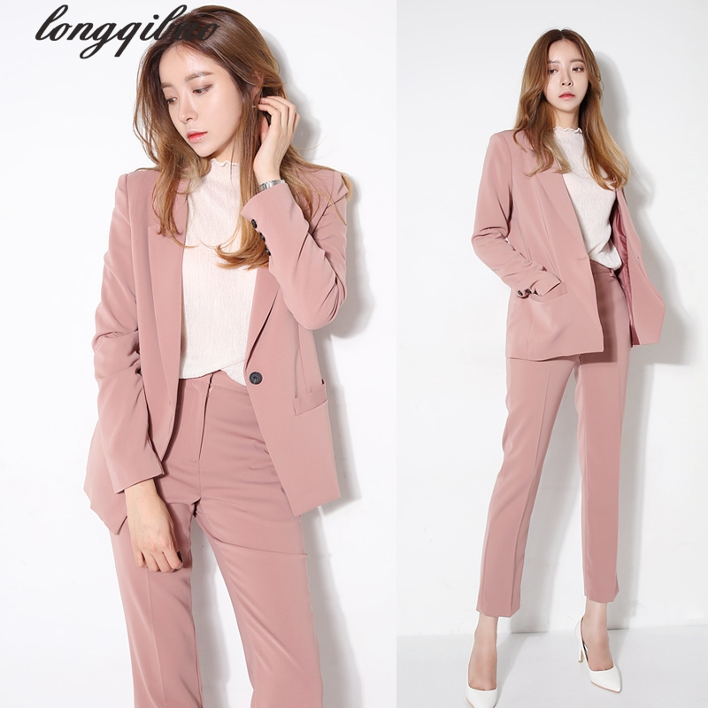 2017 spring and autumn women's new fashion temperament suit jacket + Slim trousers Two pieces / sets TB7062