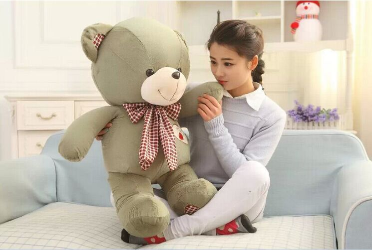 lovely huge teddy bear toy plush green bow teddy bear heart bear doll gift about 100cm the lovely lying teddy bear doll red stripe cloth plush bear toy gift toy about 120cm