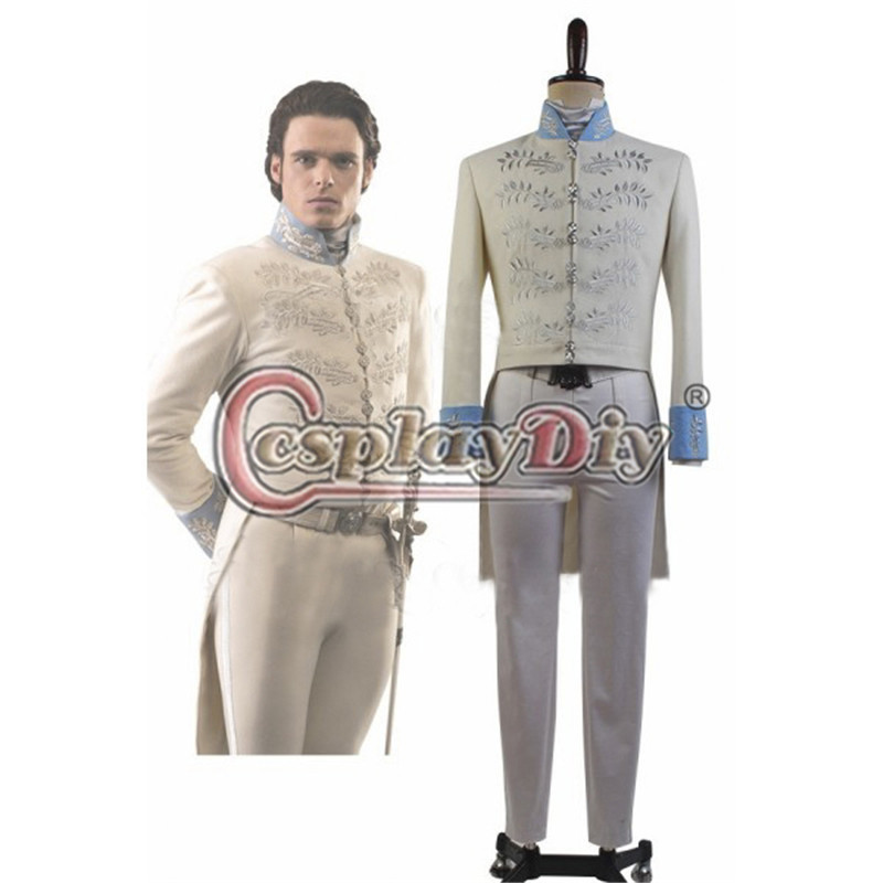 New Film Cinderella Dress Prince Charming Kit Uniform Outfit embroidery Costume Adult Men Halloween Party Cosplay Costum