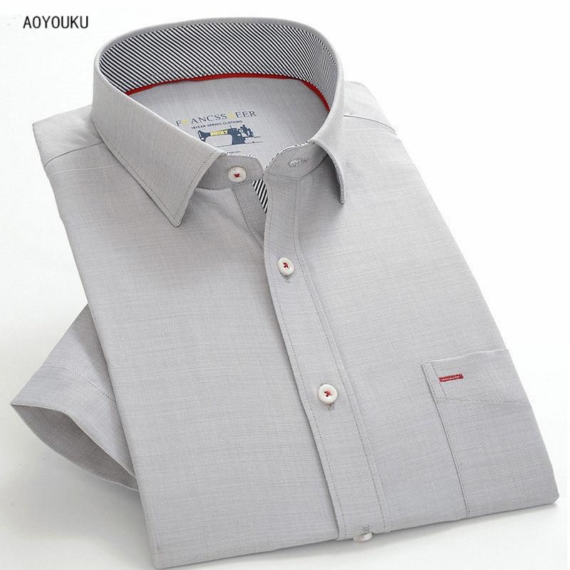 패션 망 짧은 소매 비즈니스 클래식 슬림 맞는 남자 경력 셔츠 그레이스 공식적인 남성 빈티지 고품질 셔츠