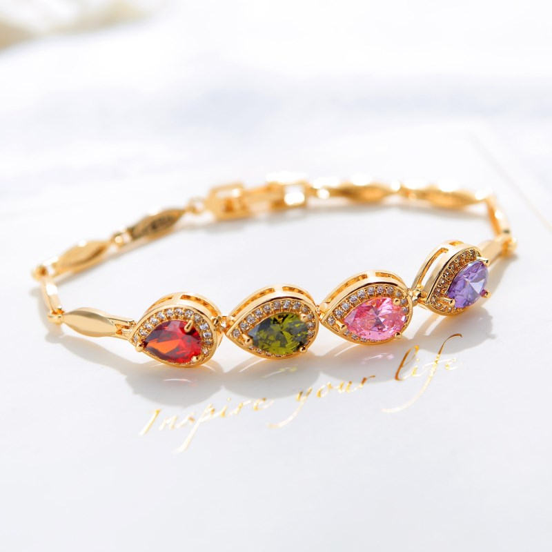 CAB005 Trendy Summer New Fashion Hot Round Crystal Jewelry charm bracelet Bangles anklet for women Gold