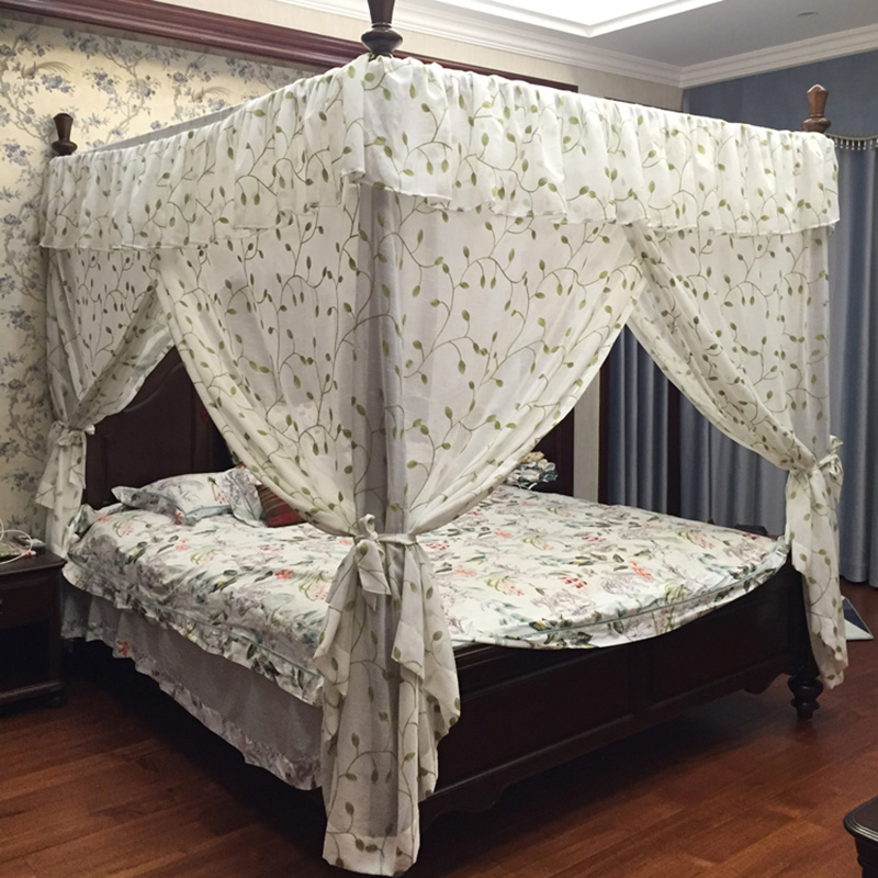 Fresh Embroidered Leaf Palace Mosquito Net Bed Canopy Home Decoration Bed Curtain Valance Custom-made Square Drapery Bedding & Fresh Embroidered Leaf Palace Mosquito Net Bed Canopy Home ...