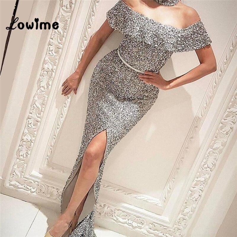 Silver Arabic Dubai Woman Evening Dress Vestidos 2018 Off The Shoulder Floor Length Party Dress Mermaid Abendkleider