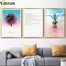 VERASUN warme kleuren landschap Canvaskunst Poster, Nordic ananas Palmboom kunst aan de muur Canvas schilderijen voor de muur van de woonkamer