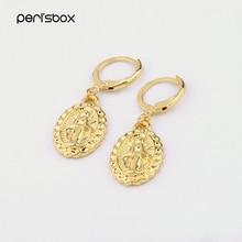 Peri'sbox Gold Color Small Virgin Mary Hoop Earrings for Women Minimalist Ear Piercing Huggie Earrings Oval Coin Disc Earrings
