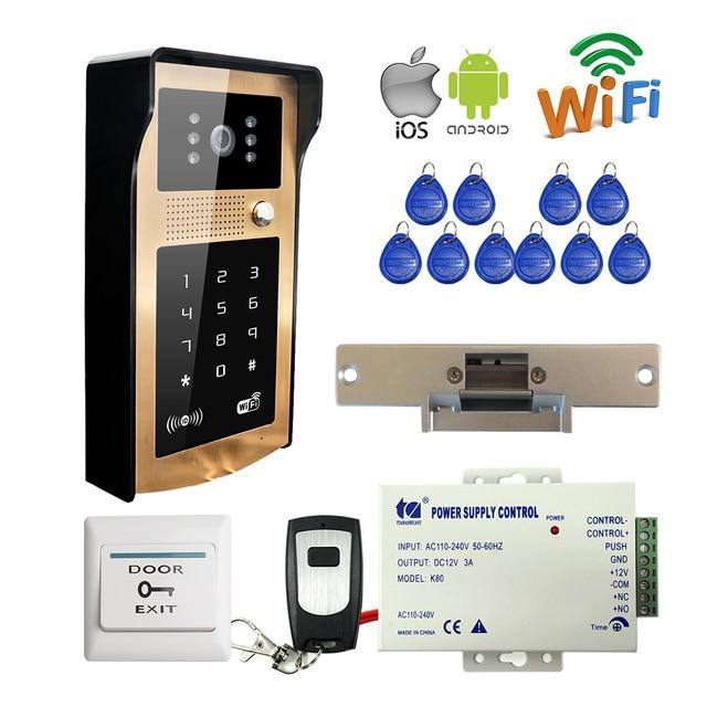 Free Shipping Wifi Phone Video Door Phone Intercom System Golden Metal Waterproof Doorbell RFID Code Keypad + Strike Door E-Lock