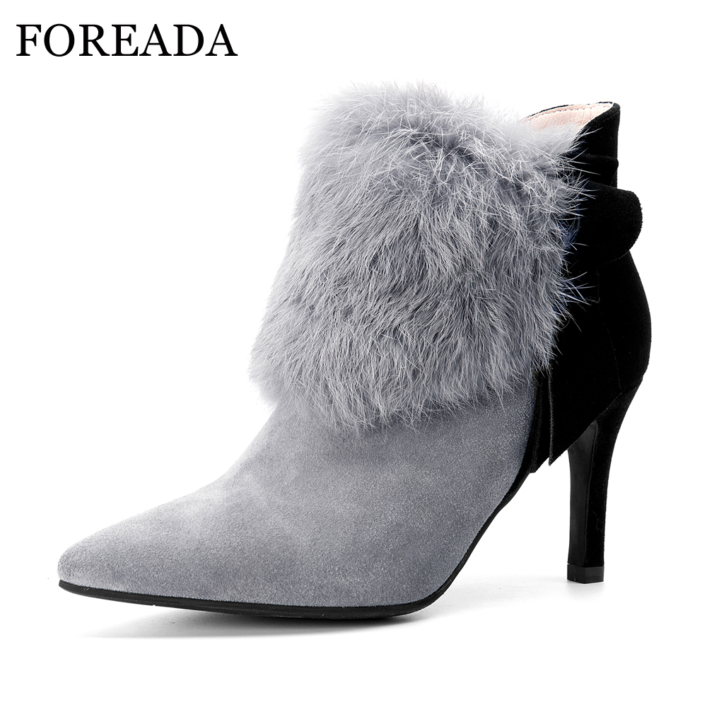 FOREADA Genuine Leather Boots Winter High Heel Ankle Boots Women Rabbit Fur Boots Female Bow Cow Suede Leather Shoes Black Gray