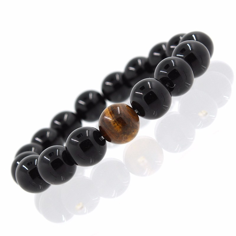 Wholesale Alloy Metal Barbell  Black Natural Black Onyx Stone Beads Fashion