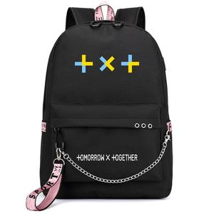 Kpop Korean Tomorrow X Together TXT Printing Women Backpack USB Charge Laptop Backpack Canvas Pink School Bags Travel Bagpack