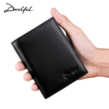 Deelfel New Genuine Leather Men Wallets Short Wallet Vintage Cow Leather Card Holder Pocket Purse Standard Holders Wallets